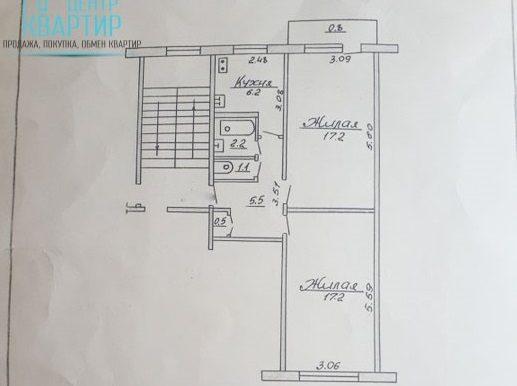 Доля в 2-комнатной квартире на Домбровского